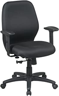 Office Star Thick Padded Contour Seat and Back, 2-to-1 Synchro Tilt, and 2-Way Adjustable Padded Arms Managers Chair, Black