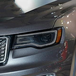 NCUIXZH2 peças de filme protetor de farol de carro adesivo transparente TPU preto, para acessórios Grand Cherokee WK2 201...