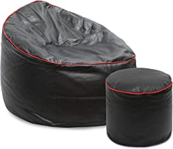 VSK Combo XXXL Sofa Mudda Bean Bag Cover with Round Footrest/Puffy Black Color (Without Beans)