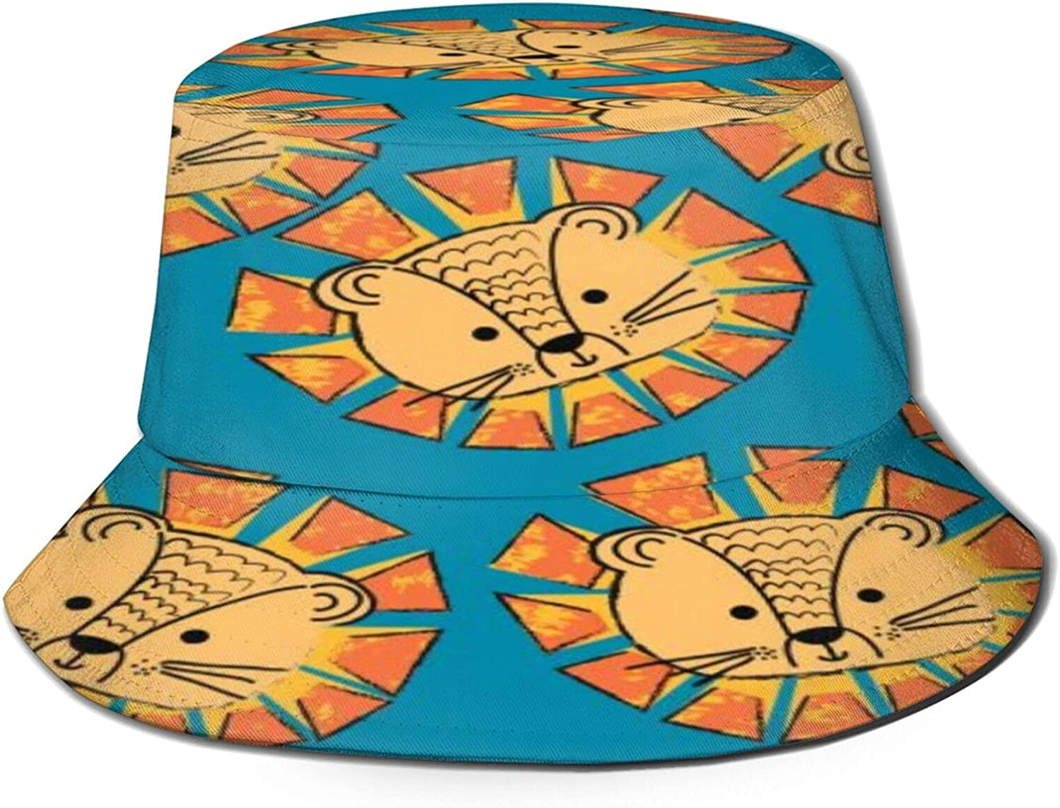 Pattern with Face Lion Bucket Hat Sun Packable Unisex Summer Max 45% OFF Super Special SALE held