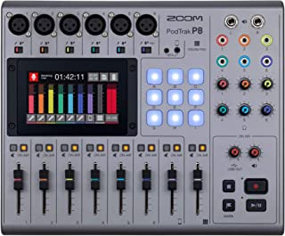 Zoom PodTrak P8 Podcast Recorder, 6 Microphone Inputs, 6 Headphone Outputs, Phone Input, Sound Pads, Onboard Editing, Reco...