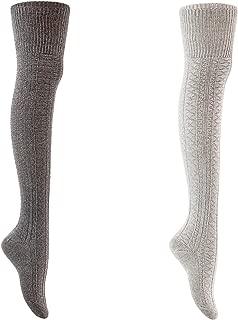 AATMart Women's Big Girl's 2 Pairs Knee-High Cotton Boot Socks M1025 Size 6-9