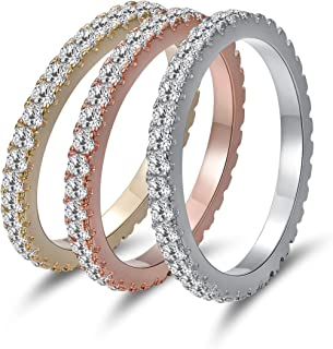 MDFUN Tri-Color Gold Plated Cubic Zirconia Eternity Ring 3 PCS Set