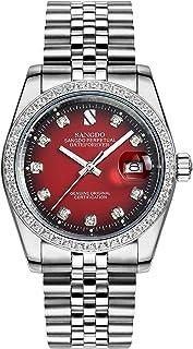 Carlien Men Diamond-Accented Bezel Automatic Mechanical Watch