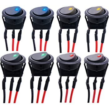 mxuteuk 12pcs 12V 20A Round Toggle LED Switch Car Truck Boat Rocker SPST On-off Control Blue Green Yellow Red KCD2-102N-4C