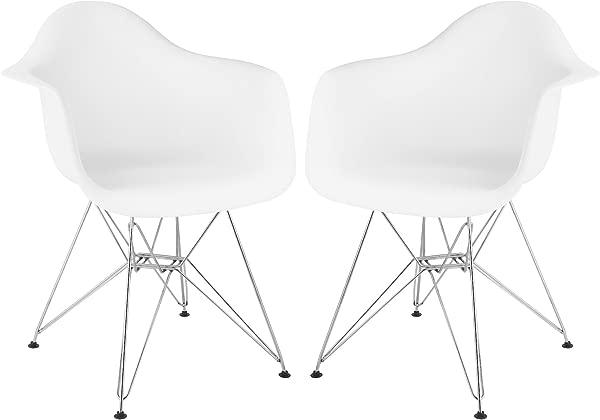Stram Mid Century Modern Arm Chair White Set Of 2 Chrome Base