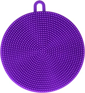 HG HGROPE Silicone Scrubber Dish Wash Cloth Dirt Cleaning for Kitchen Bathroom, Purple