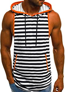 TIFENNY Men's Summer Casual Stripe Print Hooded Fashion Sleeveless Sport T-Shirt Gym Top Vest Blouse