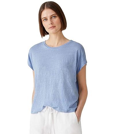 Eileen Fisher Petite Crew Neck Boxy Top in Organic Linen Jersey
