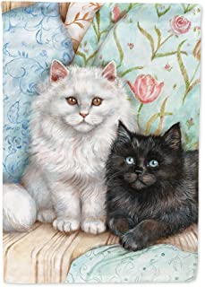 Caroline`s Treasures CDCO0510GF A Black Cat and A White Cat Flag Garden Size, Small, Multicolor