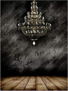 Photography Backdrop 5x7 ft Concrete Wall Brown Wood Floor Backdrop Crystal Chandelier Photo Background for Studio Props Photo Backdrop BT017