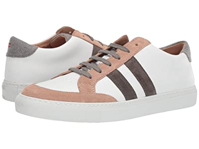 eleventy Leather Sneaker with Suede Trim (White/Sand) Men