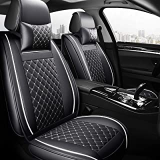 FREESOO Car Seat Cover Cushions PU Leather, Front Rear Full Set Car Seat Covers for 5 Seats Vehicle Suitable for Year Round Use(Black White 4)