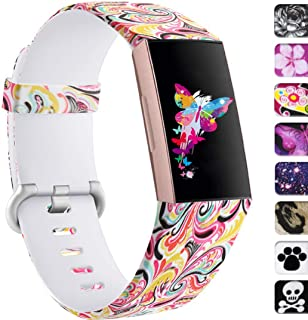 Ouwegaga Floral Bands Compatible with Fitbit Charge 3/SE Water Proof Fadeless Pattern Printed Silicone Multi Patterns Available