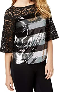 Sachin + Babi Womens Lace Sequined Blouse