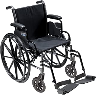 Drive Medical Cruiser III Light Weight Wheelchair with Various Flip Back Arm Styles and Front Rigging Options, Flip Back Removable Desk Arms/Swing Away Footrests, Black, 20 Inch