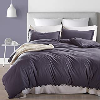 AiMay Pom Poms 3 Piece Duvet Cover Set (1 Duvet Cover + 2 Pillow Shams) Stone-Washed Brushed Luxury 100% Super Soft Microfiber Bedding Collection (Queen, Navy Blue)