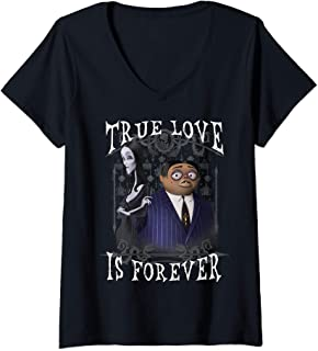 Womens Addams Family Morticia And Gomez True Love Is Forever V-Neck T-Shirt