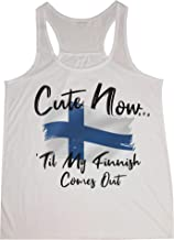 Cute Now Ladies Finland Tank Top Til My Finnish Comes Out Womens White Racerback Vintage Flag Tank Top XS-XXL