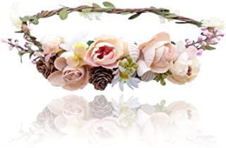 AWAYTR Bohemia Flower Crown Headband - Exquisite Pinecone Leaf Berry Flower Headband Flower Halo Wreath women (Light khaki+Light pink)