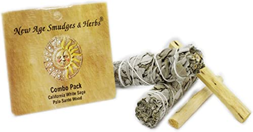wholesale New outlet online sale Age Smudges and Herbs Smudge Kit - 2 California White Sage Smudge Stick for Cleansing (Salvia Apiana) with 2 outlet online sale Palo Santo Incense Sticks (Holy Wood) - Sage Bundles outlet sale