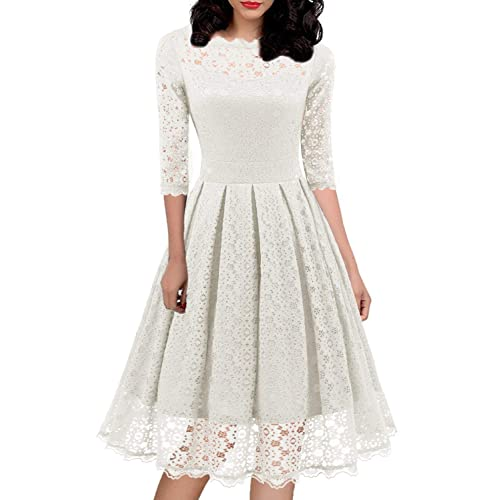 3f17399f6 Women's 1950s Vintage Floral Lace Half Sleeve Cocktail Party Casual Swing  Dress 595 (XL,