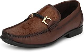 HITZ Brown Leather Loafers for Men