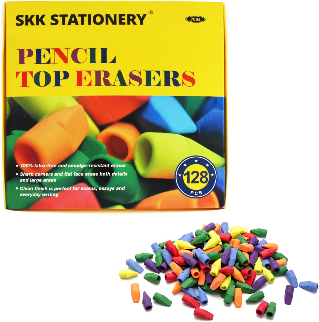 SKKSTATIONERY Erasers Tops Set of Pencil 128 Max 48% OFF Mixed Top Year-end annual account