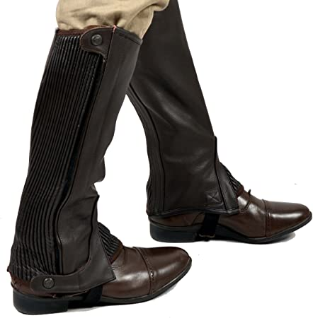 Riders Trend Full Grain Leather Half Chaps XL TALL BROWN