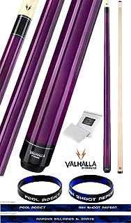 Valhalla by Viking VA107 Purple 2 Piece Pool Cue Stick No Wrap 16-21 oz. Plus Rosin Bag & Bracelet (Purple VA107, 18)