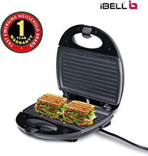 iBELL Two-Slice Sandwich Maker with Non Stick Coated Plates SM112 (750 Watts, Black/Grey)