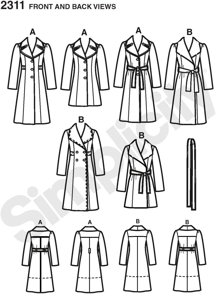 Simplicity Pattern 2311 Ms PROJECT RUNWAY Coat 2 Length w//Collar~Sleeve~Belt Opt