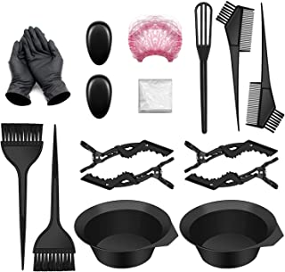 17 PCS Hair Coloring Dyeing Kit, Include Hair Tinting Bowl/Dye Brush/Mixing Spoon/Shower Cap/Ear Cover/Gloves Hair Dye Too...