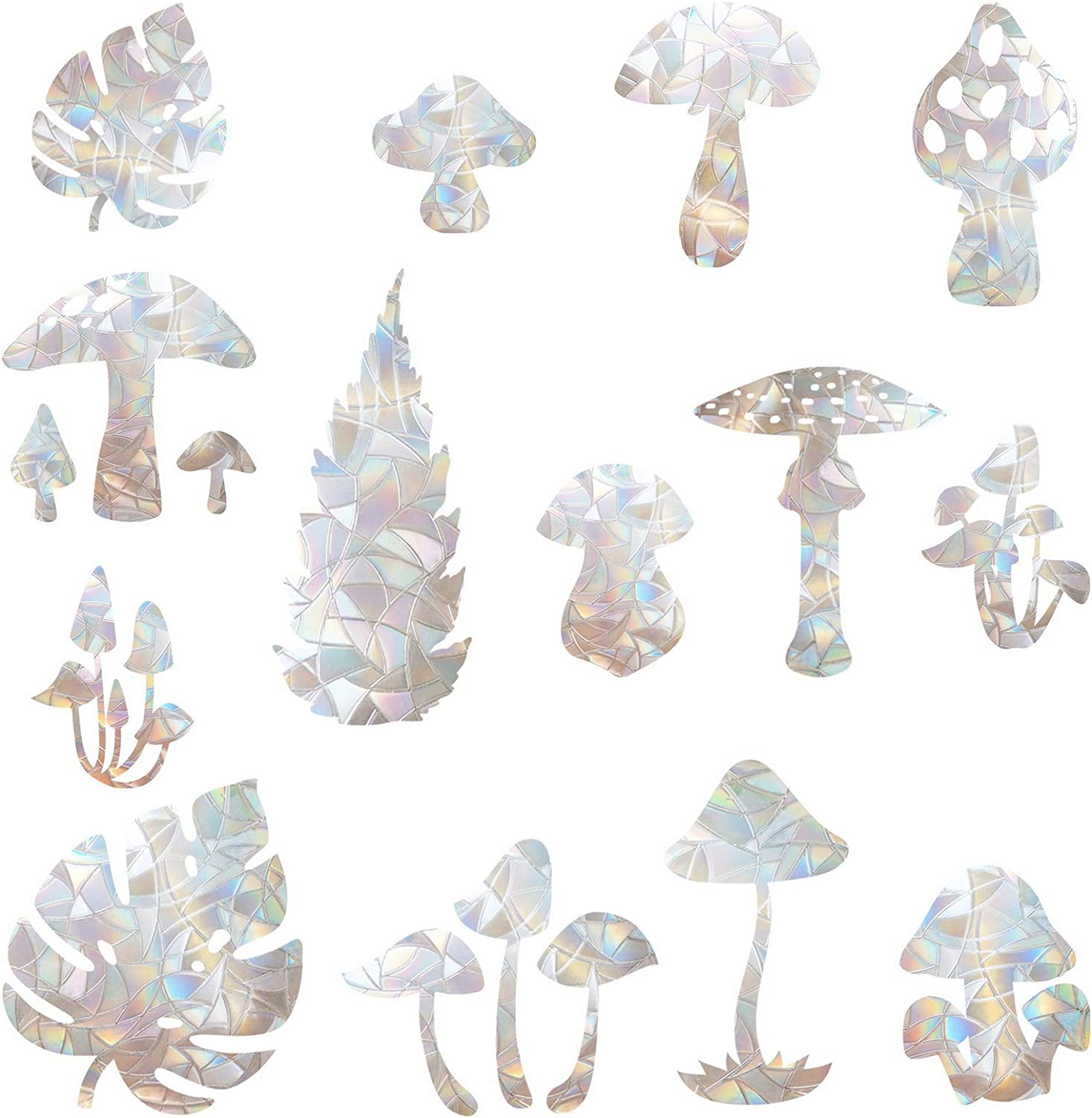 16 Los Angeles Mall Pieces Mushroom and Leaf Spring new work Clings Window Anti-Collision - Windo