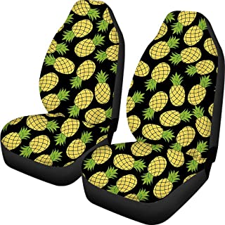 Horeset Pineapple Car Seat Protectors Non-Skid Polyester Car Front Seat Protector Vehicle Seat Covers Fit Most Cars SUV Sedan Truck, 2pcs