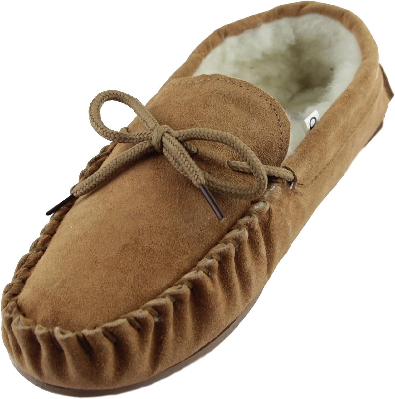 Sheepskin World Suede Sheepskin Wool Mens Moccasin Slippers - Hard Rubber Sole