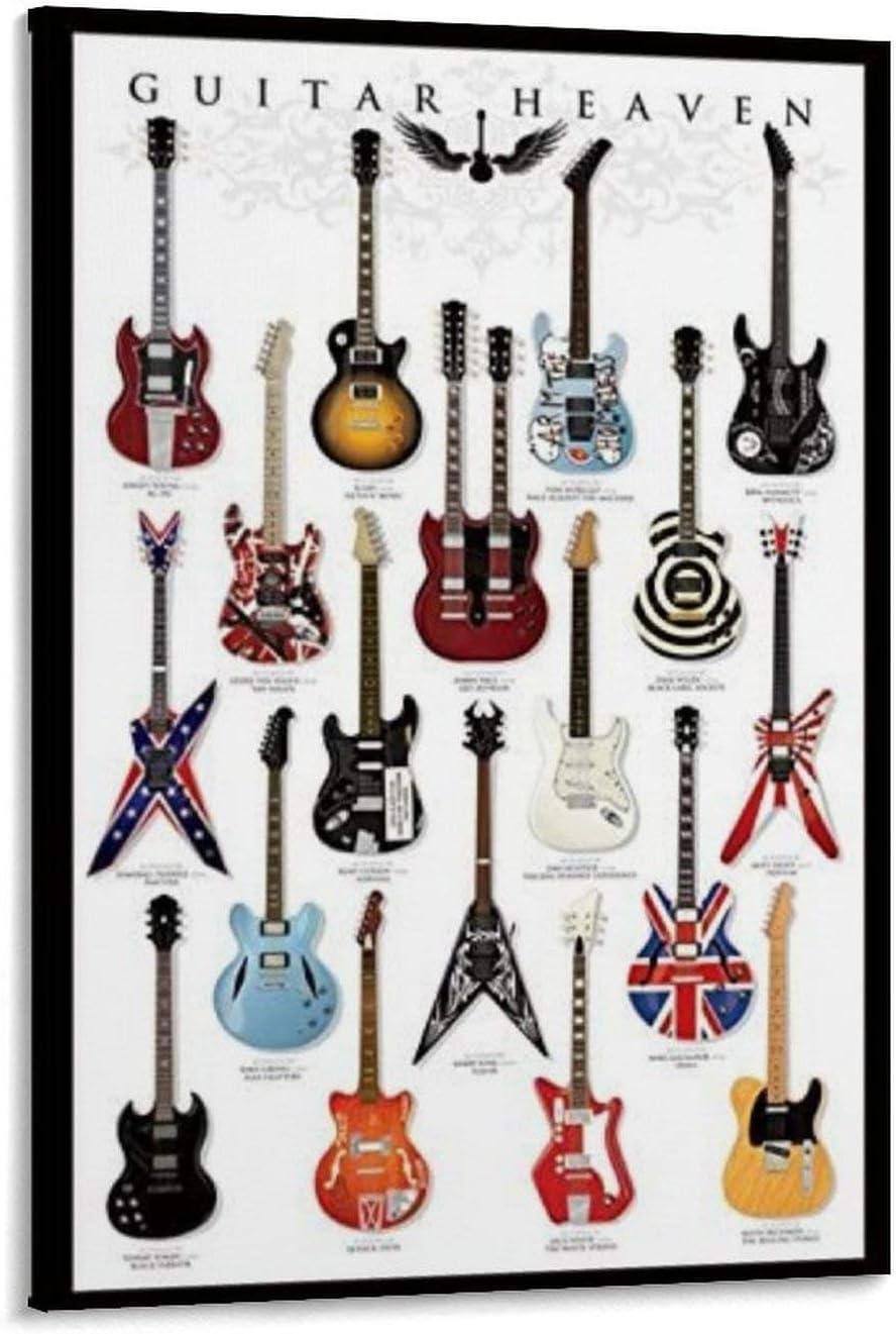 QWDA Póster de música con el cielo de un guitarrista, modelos clásicos, 61 x 91,5 cm, lienzo y arte para pared, diseño moderno, decoración de dormitorio familiar de 30 x 45 cm