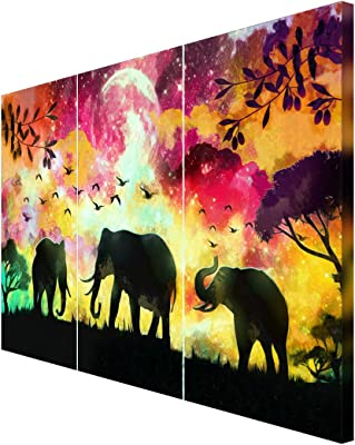 999Store wooden paintings for living room wall painting elephant paintings for living room elephant wall painting Elephants and Colorful Sky wall painting ( Canvas 24X36 Stretched) FLP24360149