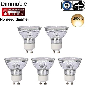 Bombillas LED GU10 Regulable Kimjo 6W Blanco Cálido 2800K Equivalente a 75W Halógena, 550LM 82Ra Foco GU10 120 ° Ángulo de Haz 5 Pack: Amazon.es: Electrónica