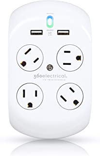 360 Electrical 36037 Revolve Plus Surge 4 Rotating Outlets + 2 USB PortsSurge Protector