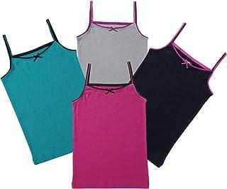 Buyless Fashion Girls Cami Undershirts Cotton Tank Trim and Strap (4 Pack)