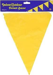 Beistle Indoor/Outdoor Pennant Banner, 10-Inch by 12-Feet, Golden-Yellow