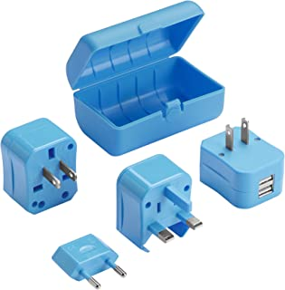 Lewis N. Clark Adapter Plug Kit W/ 2.1a Dual USB Charger, Blue