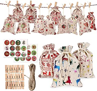 SIMEEGO Christmas Burlap Bags, 24 Pcs Drawstring Linen Bags Christmas Pouches with Twine, Stickers, Wood Clips, for Wrapping Candy Jewelry, Christmas Tree Ornaments Hanging, DIY Party Banners