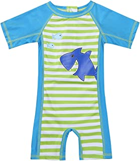 Collager Baby//Toddler Boys Long Sleeve Round-Neck One Piece Swimsuit Infant Shark attern Bathing Suit Kids Sunscreen Swimsuit