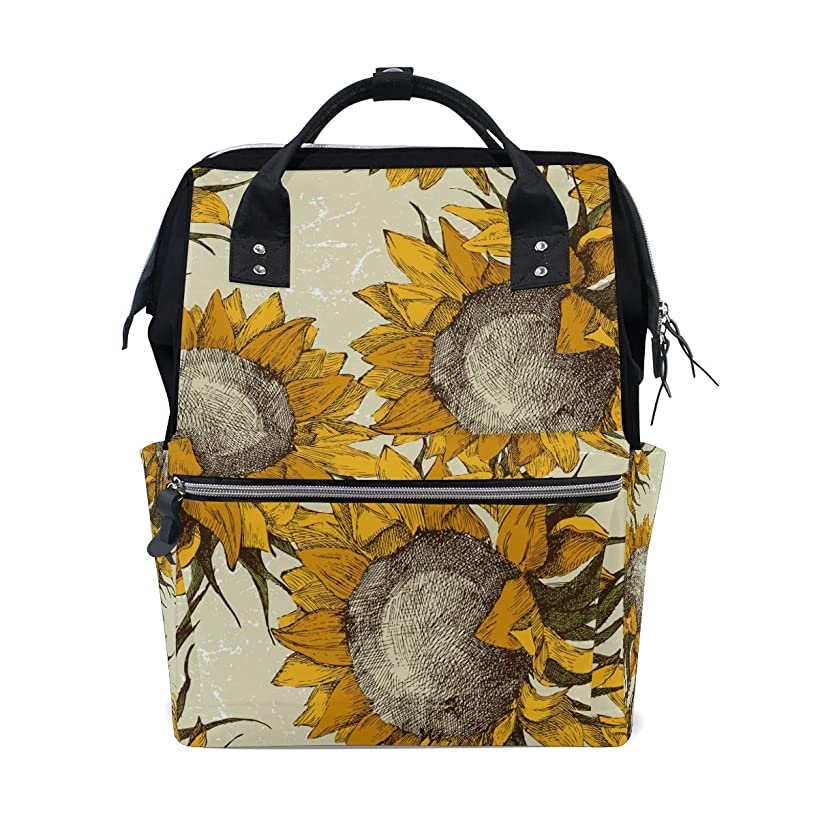 Vintage Sunflower School Backpack Large Capacity Mummy Bags Laptop Handbag Casual Travel Rucksack Satchel For Women Men Adult Teen Children