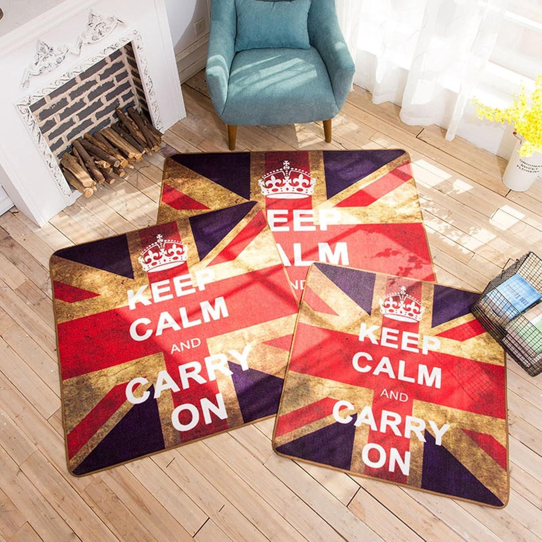 SE7VEN British Wind Meters Word Flag Retro Door pad Blanket for Living Room and Tea Table Bedroom Blanket for Bedroom Personality Creative mat-C 80x80cm(31x31inch)