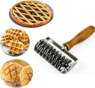 Kitchen Baking Dough Cookie Pie Pizza Pastry Lattice Roller Cutter Baking Tool - Stainless Steel - Wood handle