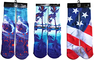 Hxst Hip-hop 3D Multi Pattern Printed BascketBall Sport Casual Socks Pack of 3