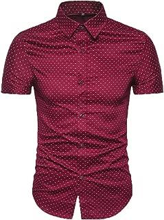 Men's Printed Dress Shirt-Cotton Casual Short Sleeve Regular Fit Shirt